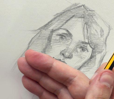dibujo retrato tapado